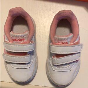 Adidas baby girls size 5 white n pink